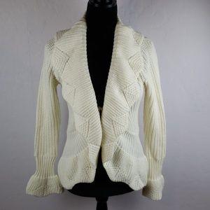 BCBGMAXAZRIA Cream Tie Front Waterfall Cardigan